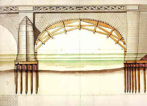 Partie supérieure gauche du plan et de l'élévation des A.M.S. D'après un cliché de P. Giraud, Inventaire général. Cette étude d'ingénieur remonte vraisemblablement aux années 1764-1765, Cessart ayant achevé cette arche avant son départ de Saumur en 1766.