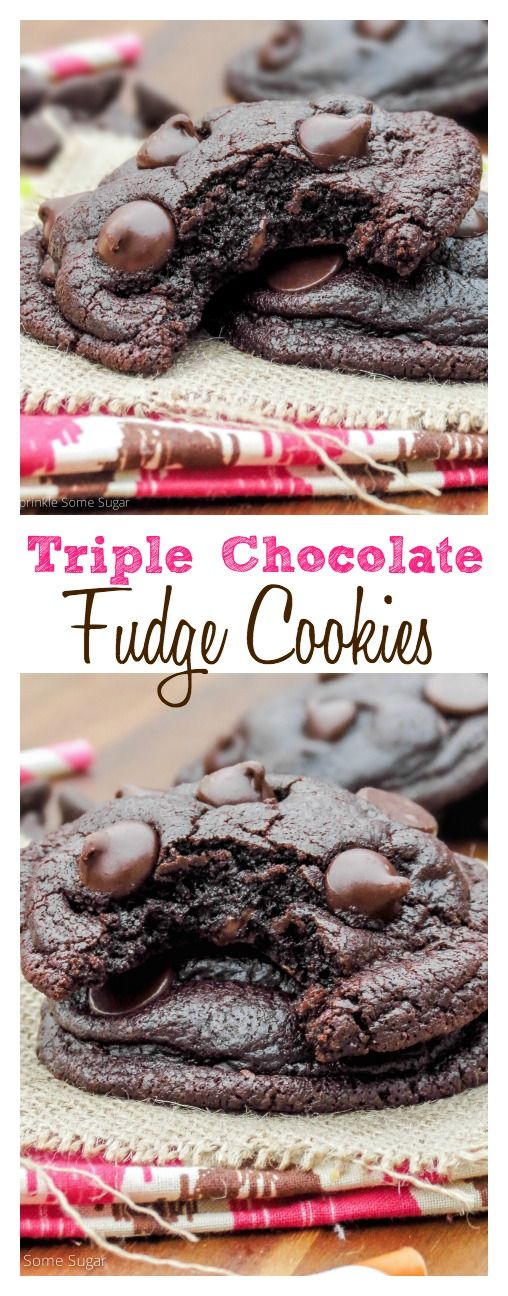 Triple Chocolate Fudge Cookies. Soft, thick, fudgy and deeply chocolate-y. Everything you'd hope for in a chocolate cookie!