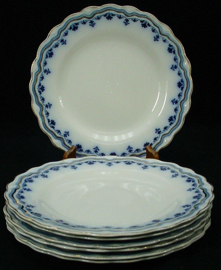 "GRINDLEY china LYRIC flow blue DINNER PLATE 9"" Set of SEVEN (7) • $149.95 - PicClick"
