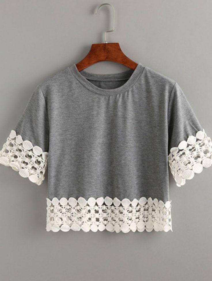 Grey Crochet Trimmed Crop T-shirt