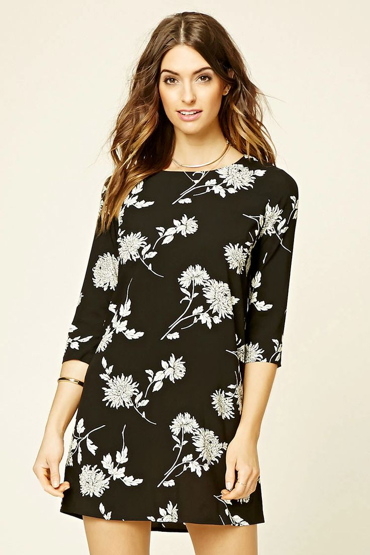 Forever 21 Contemporary - A woven shift dress with a round neckline, a keyhole cutout in back with button loop closure, 3/4 sleeves, and an allover floral print.