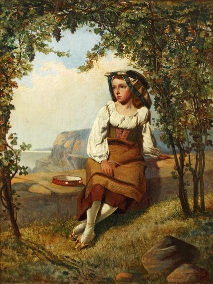 Augusto Jules Bouvier - ragazza napoletana Seduto Dentro