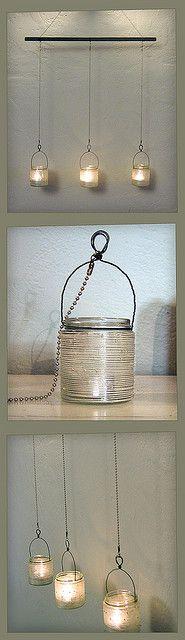 Hanging beaded glass jar candle holders. by juliekeehner, via Flickr