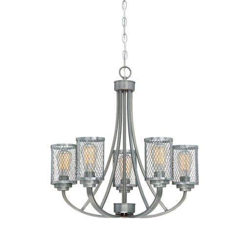 Millennium Lighting 3265 Akron 5 Light 26 Wide Chandelier with Mesh Style Metal Cylinder Shades (Bronze Finish), Gold