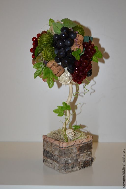 """Купить Топиарий """"Виноградный"""" - зеленый, топиарий, сизаль, Дерево счастья, деревце, украшение для интерьера, Декор"""