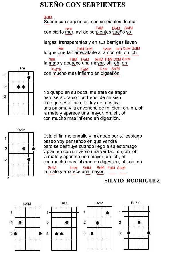 """Silvio Rodríguez: """"Sueño con serpientes"""". Acordes de la guitarra."""
