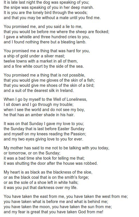 Donal Og translated by Lady Augusta Gregory.The original 8th century Irish ballad has 14 stanzas. http://www.annabelchaffer.com/