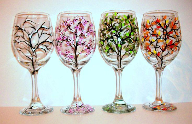 4 Seasons Hand Painted Wine Glasses Set - 4 / 20 oz Handpainted Wine Glasses The Four Seasons of Winter Spring Summer & Fall /…