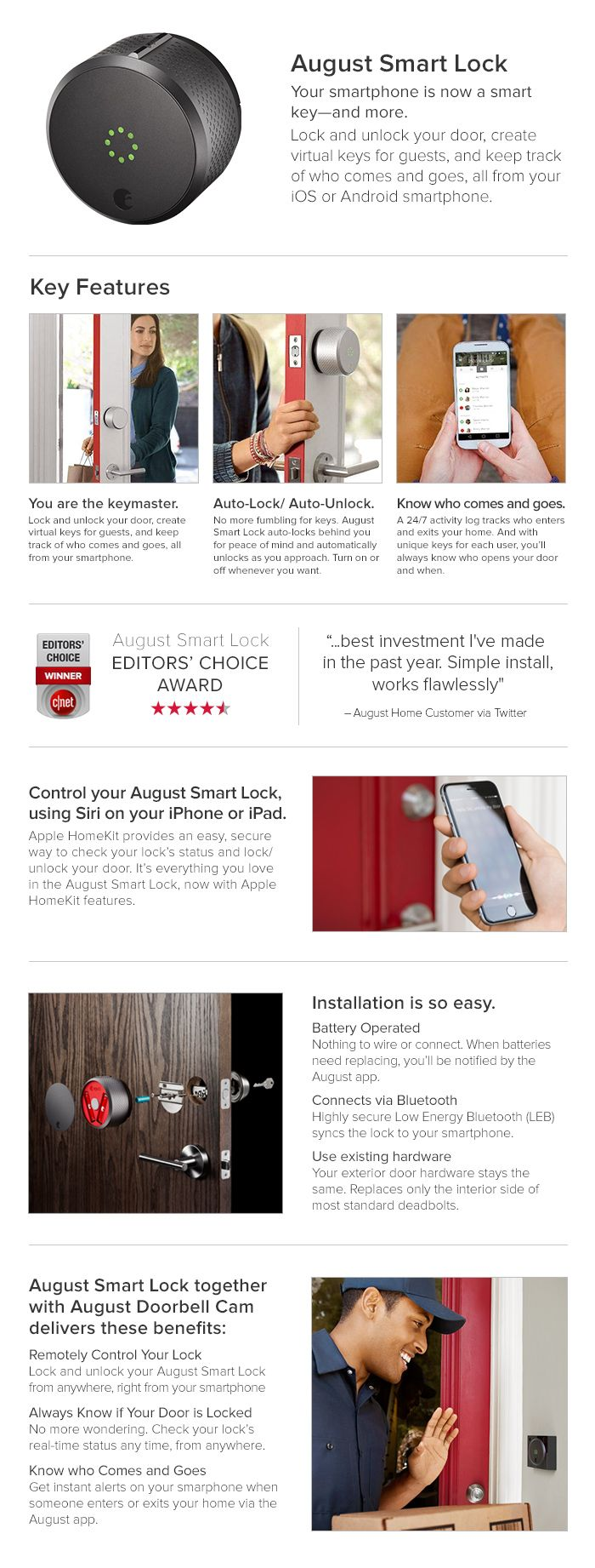 August Smart Lock Homekit Enabled, Silver-AUG-SL02-M02-S02 - The Home Depot