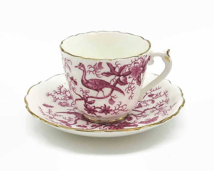 Vintage demitasse cup and saucer, Coalport, pink and white Cairo pattern with birds, flowers, insects, gilt trim, 1970 - 74, by CardCurios on Etsy