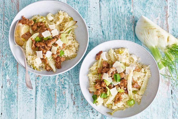 Venkelrisotto met gehakte venkel-tijmworstjes, mmm comfortfood op deze regenachtige dag - Recept - Allerhande