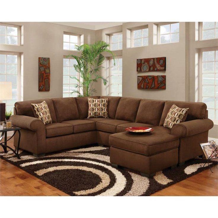 Modern Sofa Chelsea Adams Microfiber Sleeper Sectional Sectionals in Chocolate ChelseaFurniture Sleeper SectionalBrown Sectional SofaSofa