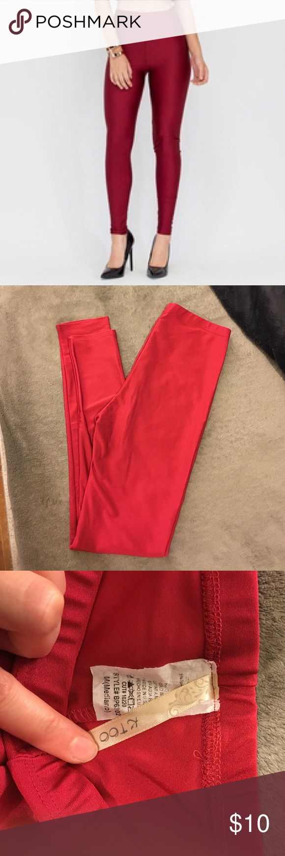 HIGH WAISTED SHINY RED LEGGINGS SZ. M ❤️❤️ NEW without tags, perfect condition!  High waisted hot red shiny leggings, Sz. M Pants Leggings