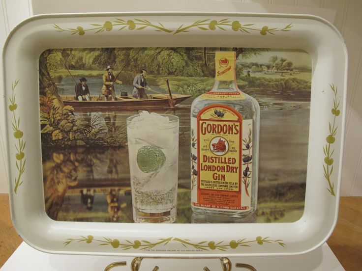 1950's Gordon's Gin Tole Tray--Fishing--Gin and Tonic by SophiaRoom on Etsy
