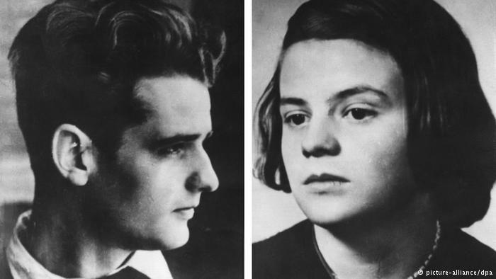 Porträtfotos von Hans und Sophie Scholl.