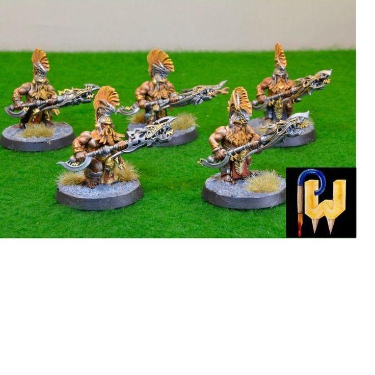 Warhammer Army AOS Dwarves Fyreslayer Auric Heathguard x 5 Painted