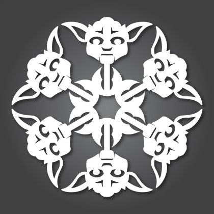 Yoda Star Wars Paper Snowflake: Free Printable Template (31 others here) / http://www.babble.com/kid/24-star-wars-snowflakes-printables-if-you-have-ninja-knife-skills/