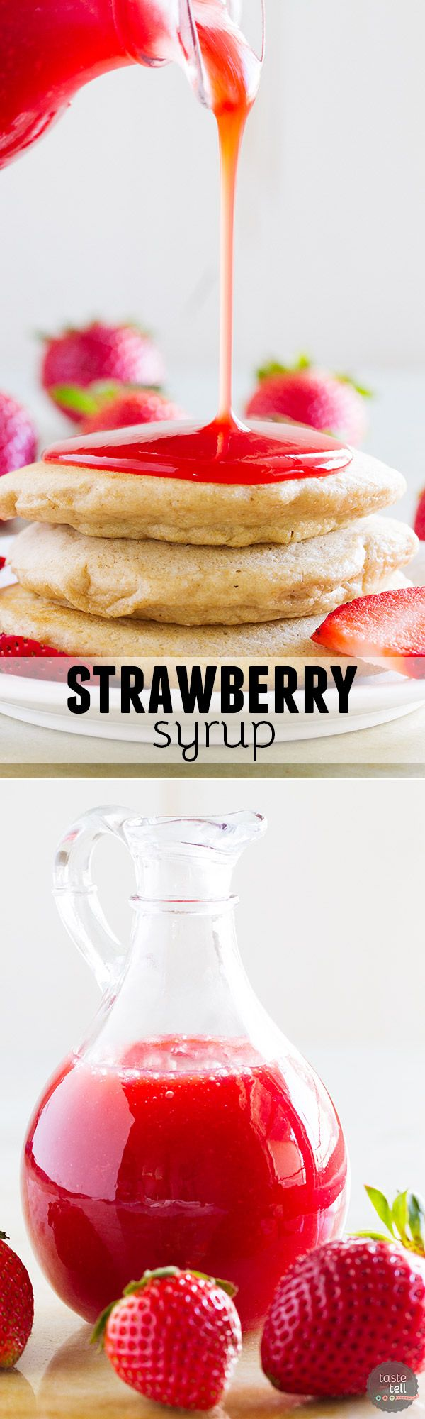 Perfect for pancakes, ice cream or as a drink mix-in, this Strawberry Syrup Recipe tastes sweet and fresh and is perfect all summer long.