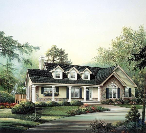 Cape cod country ranch house plan 86970 house plans for Cape cod house plans with basement