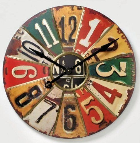 large retro number plate american vintage giant wall clock 74cm by heaven sends http