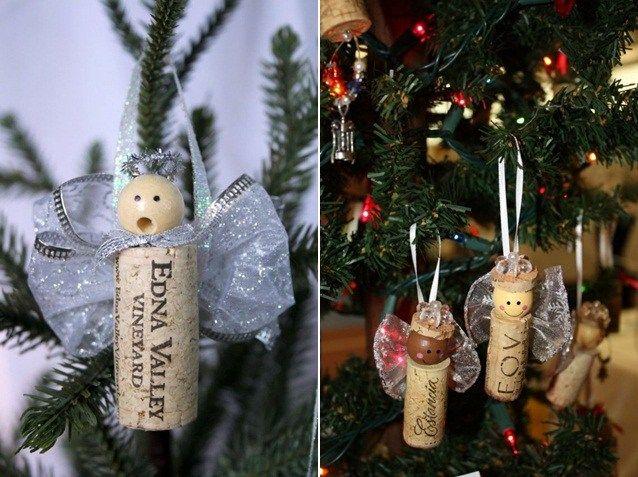 Weinkorken Bastelideen Weihnachten schöne Dekoration