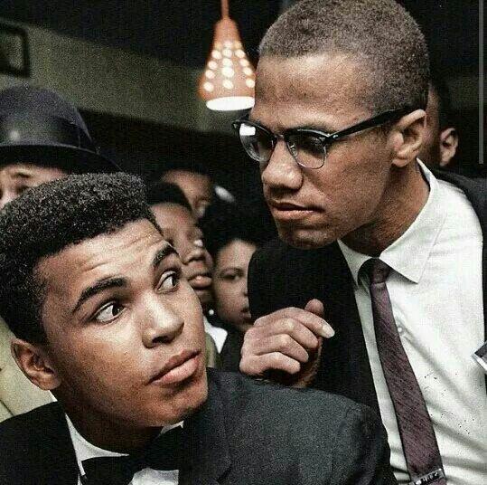 Muhammad Ali and Malcolm X. Civil rights activists.