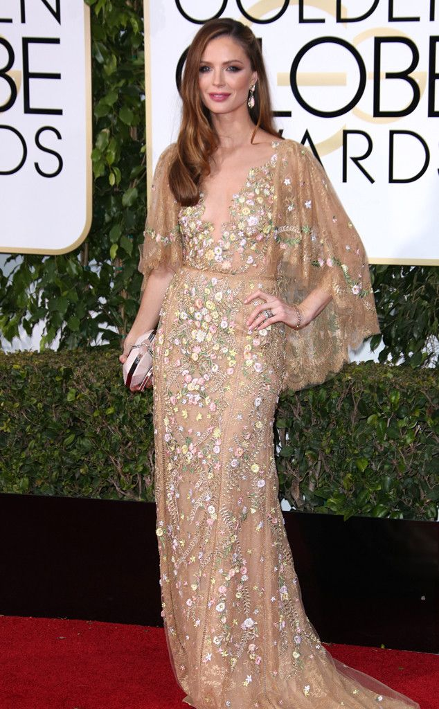 Georgina Chapman from 2016 Golden Globes Red Carpet Arrivals  In Marchesa