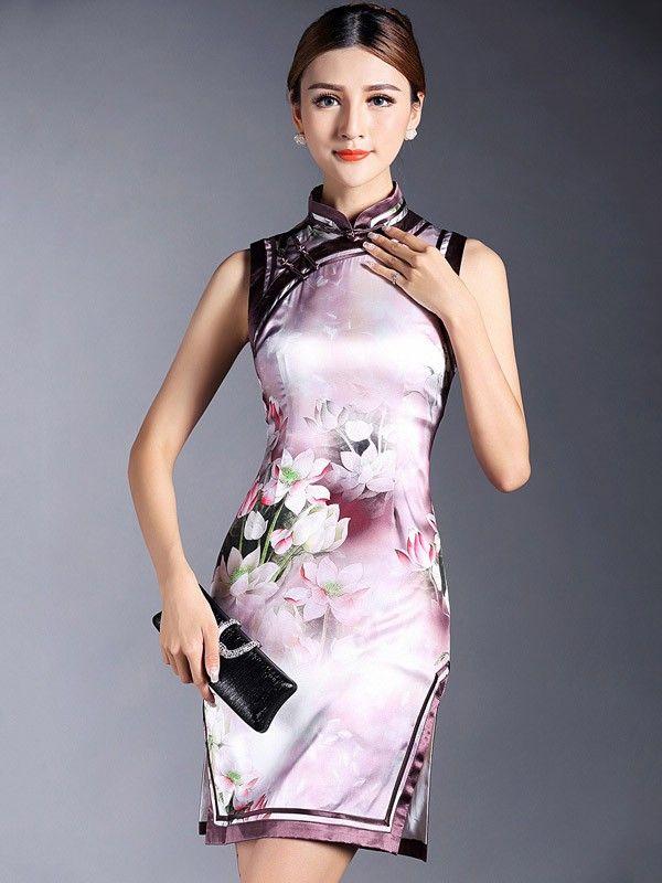 Pink Floral Mulberry Silk Qipao / Cheongsam Dress