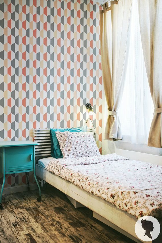 Self Adhesive Geometric Pattern Removable Wallpaper by Livettes