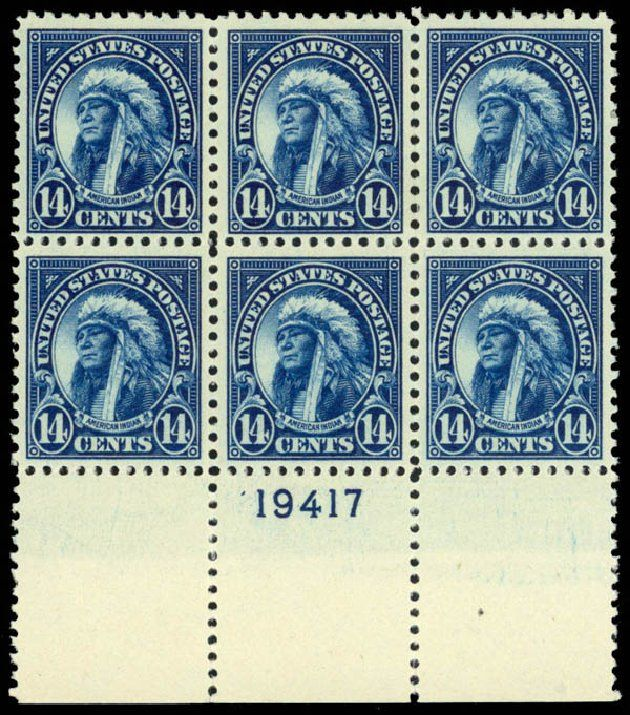 Daniel Kelleher Auctions, Mar 2013, Sale 635, Lot 704. US Stamp Prices Scott Cat. #565: 14c 1923 American Indian Perf 11