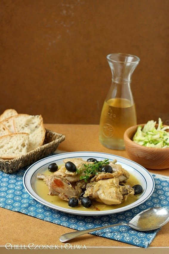Citrus rabbit stew with wine, thyme and olives