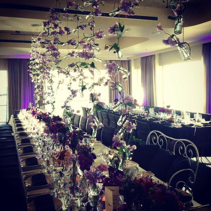 Harbour Room, RMYS. wedding with long banquet tables. Colour! Just beautiful!