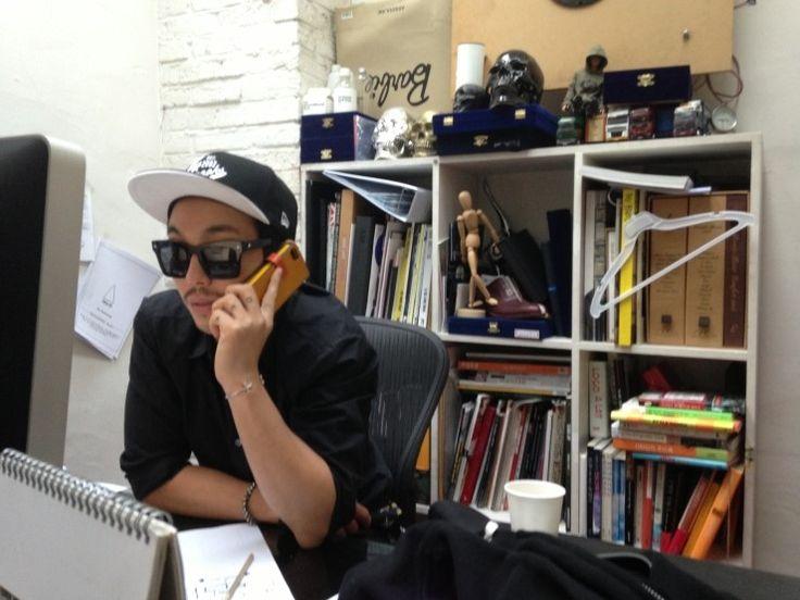 Designer Choi Bum Sik rocking our Custom Republic Iphone leather case.
