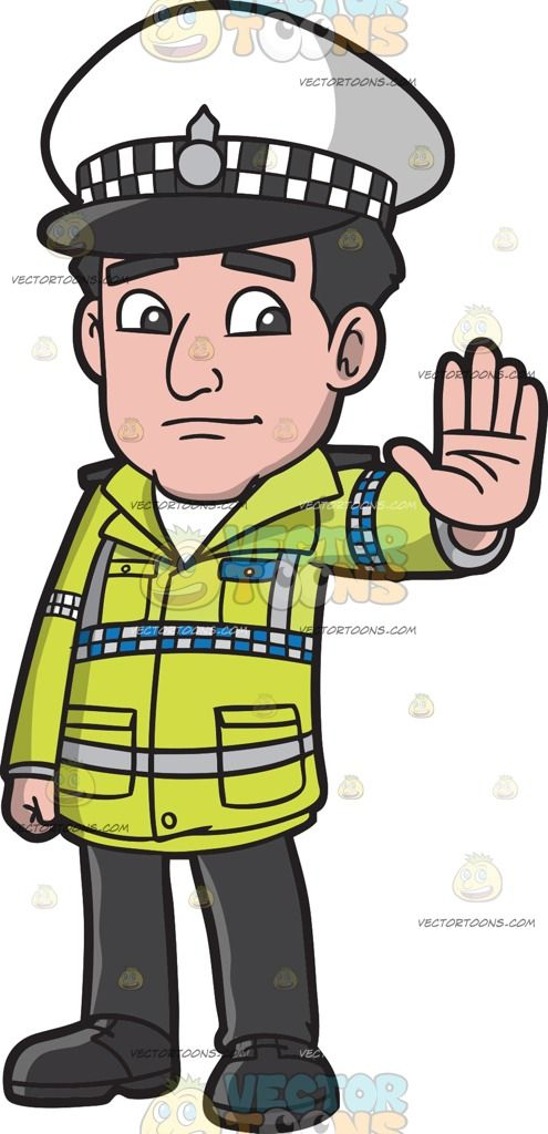 A British Traffic Police Officer :  A man with black hair wearing a black and white tartan cap with black brim yellow green jacket with blue and gray checkered bands black pants and shoes lifts his left hand to halt a car  The post A British Traffic Police Officer appeared first on VectorToons.com.  #clipart #vector #cartoon