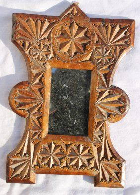 Wonderful Ca Late 19thc Small Vigorously Chip Carved
