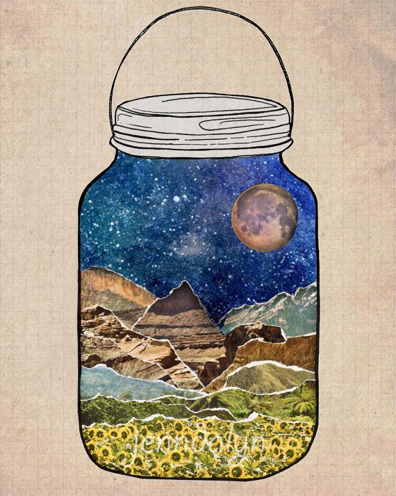 Star Jar - PAPER PRINT, terrarium jar, nature print, mason jar, mountain poster, night sky, moon stars, mixed media collage art