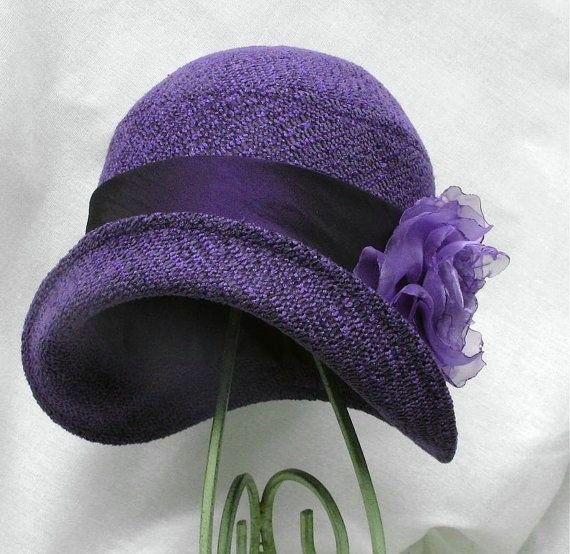 purple cloche hat with silk flower