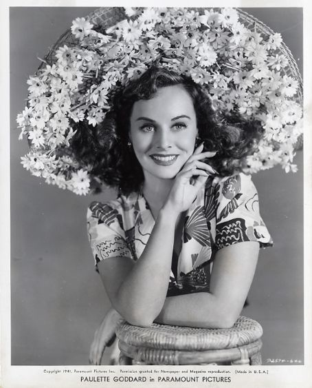 Paulette Goddard (1910-1990).  Modern Times (1936),The Women (1939), The Great Dictator,The Ghost Breakers (Both 1940),So Proudly We Hail (1943).