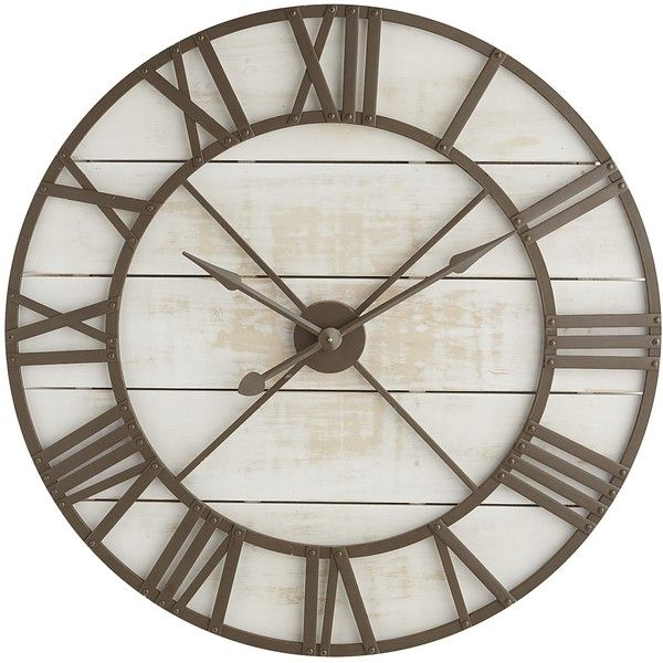 Pier 1 Imports Rustic Wall Clock ($239) ❤ liked on Polyvore featuring home, home decor, clocks, white, white wall clock, roman numeral clock, pier 1 imports, roman numeral wall clock and rustic clocks