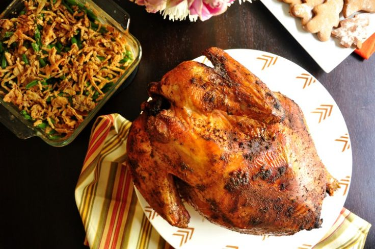 Easy Grilled Whole Turkey Recipe that does not require basting. #turkey #wholeturkey #thanksgving #grilledturkey #glutenfree