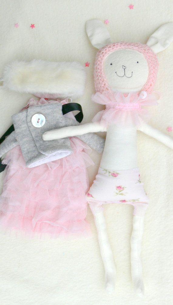 Bunny Soft Toy Rag Doll  Bunny Doll ANABEL by MiniwerkaToys