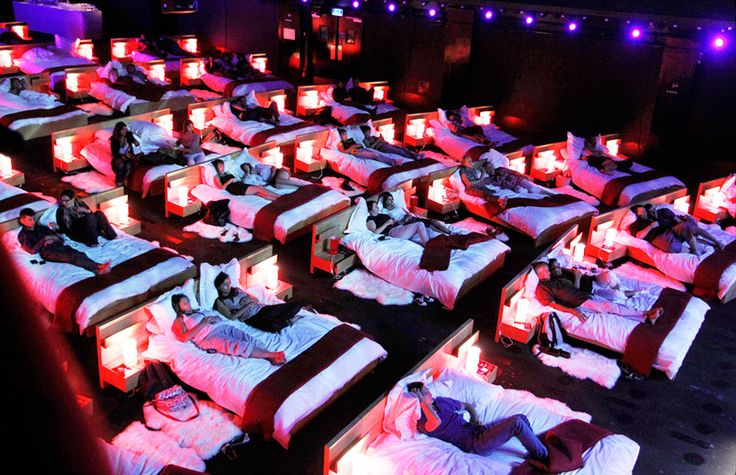 A movie showing with beds used as a promotional tool for an event held by Ikea. Olympia Music Hall In France.