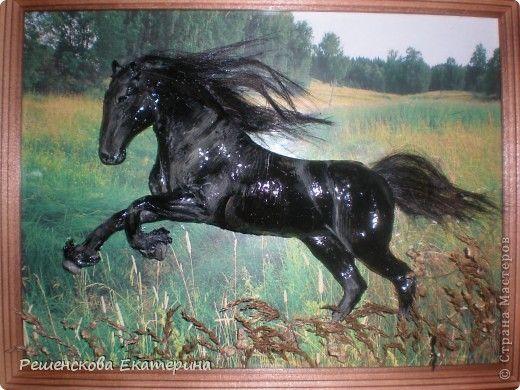 Картина панно рисунок Мастер-класс Рисование и живопись Чёрный конь Соленое тесто Гуашь Клей Материал природный фото 1