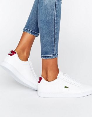 Lacoste Carnaby Evo Textured Trainers With Red Back Counter
