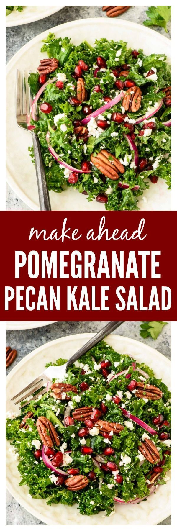 A bright and beautiful Kale Salad with Pomegranate and Pecans that's easy enough for a light lunch but special enough for a holiday party. Make-ahead recipe that's perfect for entertaining or weekly meal prep.