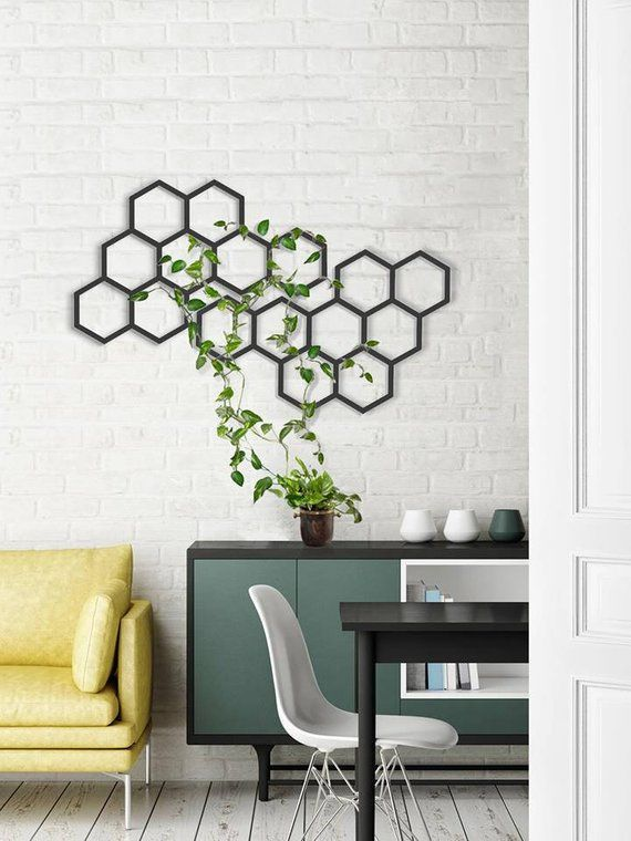Set Of 2 Geometric Wall Art Minimalist Wall Art Wall Planter Black Hanging Decor Interior D In 2020 Geometric Wall Decor Wall Decor Living Room Metal Wall Hangings