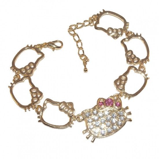 Hello Kitty shapes rhinestone studded gold tone bracelet, with extender chain. For children and discerning adults alike!