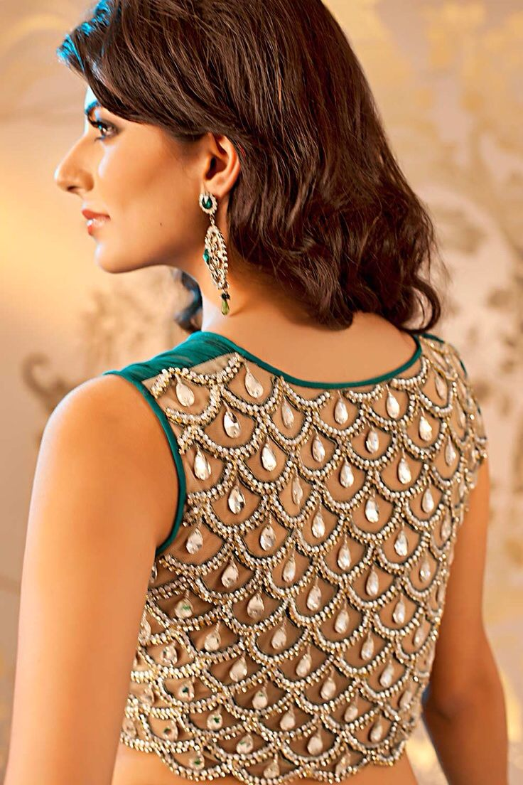 Blouse with scalloped design with stone drops all over