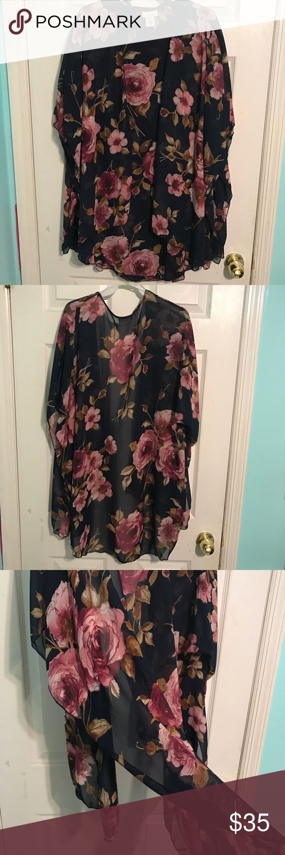 Women's kimono floral Brand New Perfect to just throw on with a cami or wear to the beach as a cover-up over your baiting suit! emory park Swim Coverups