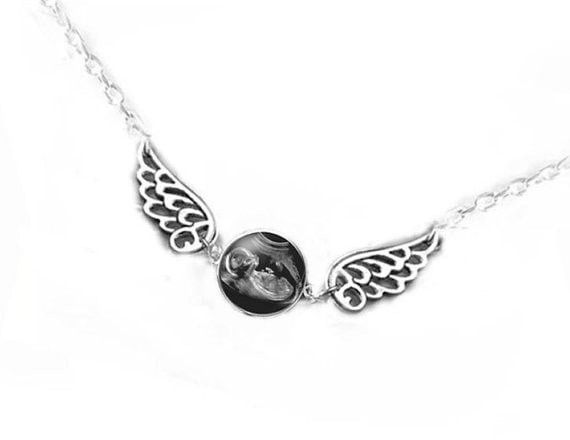 Baby Angel Wing Sonogram Necklace, Personalized Baby Photo Necklace, New Mother gift